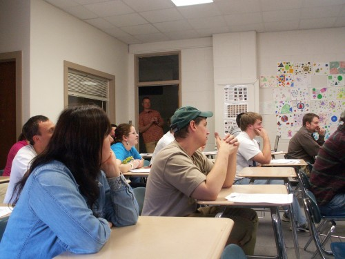 Classroom filled with students and falconers